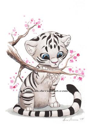 Гарний малюнок полосатого кота або маленького тигрика - це так мило :)