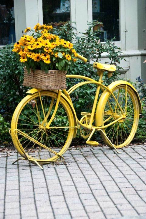 Красивый желтый велосипед хочу купить себе нынешней весной