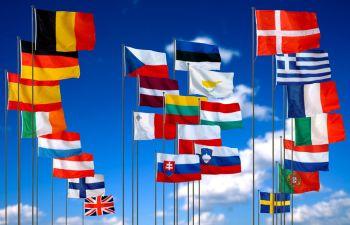 Прапори ЄС стоять у ряд значить усі йдуть на... виборчі дільниці :)