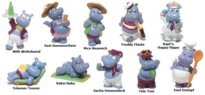 Так виглядає уся колекція 10 бегемотиків з Кіндер-сюрпризів